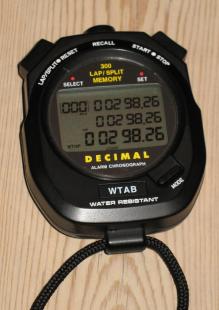 Stoppuret visar 2:98.26
