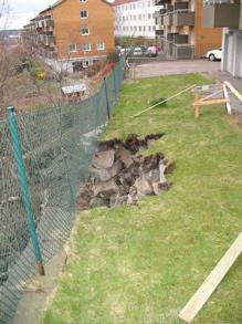 Plötsligt kollapsade stenmuren och ett stort hål uppstod i gräsmattan.