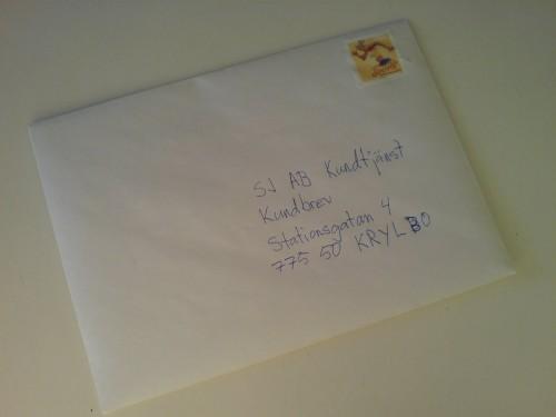 Ett brev på väg till SJ