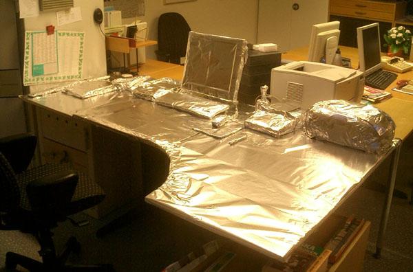 Inredning i vacker aluminiumfolie