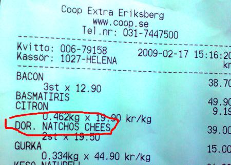 Dor. Natchos Chees på kvittot från Coop Extra