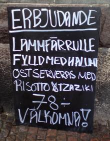 Erbjudande: Lammfärrulle fylld med hallumi, och andra stavfel