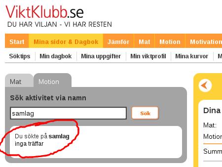 viktklubb.se - samlag: inga träffar