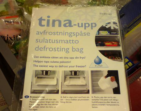tina-upp avfrostningspåse - en blöja som du lägger i frysen