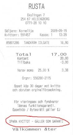 Spara kvittot - Gäller som garanti