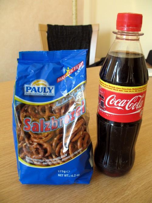 Salta kringlor och Coca Cola